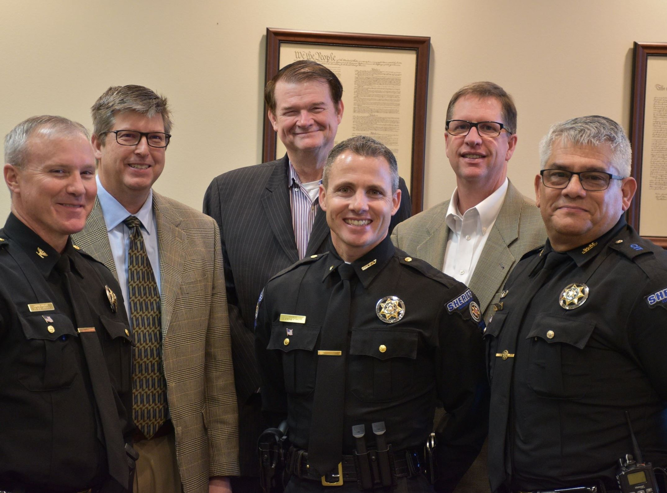 CCSO leadership with Cleveland County Commissioners